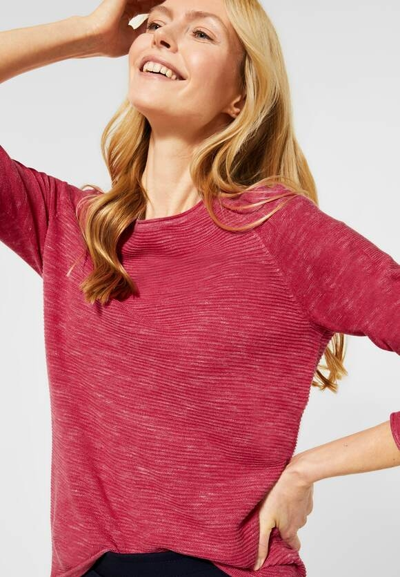 Cecil | Ripp-Pullover in Melange | Farbe: hibiscus red heather mel 12697, 301275