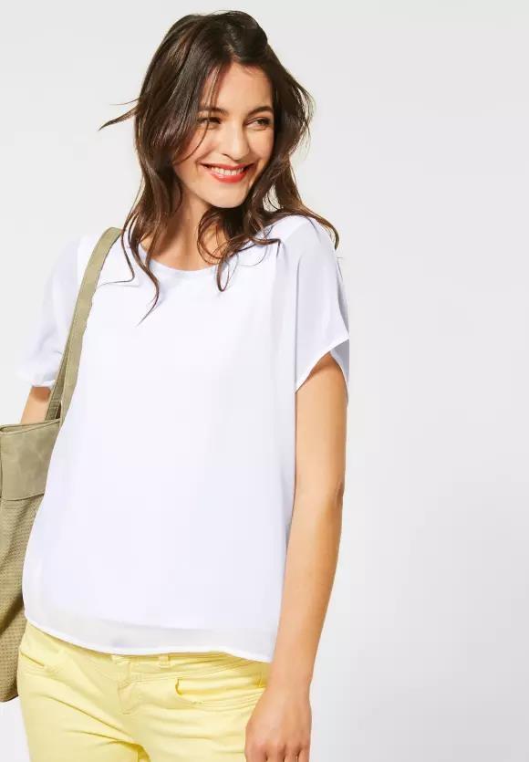 Street One   T-Shirt im Chiffon-Look   Farbe: white 10000, 315081