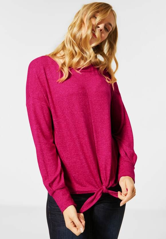 Street One | Softes Shirt mit Knoten | Farbe: raspberry pink mel 12686, 315683