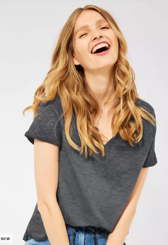 Cecil   Basic Shirt mit Flammgarn   Farbe: carbon grey 12538, 316175