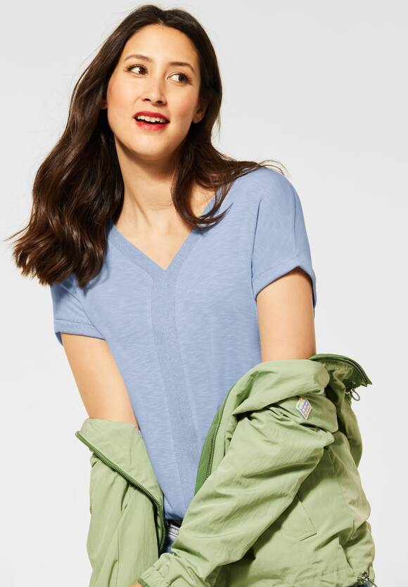 Street One | T-Shirt mit Schimmerdetails | Farbe: mid sunny blue 13037, 316221