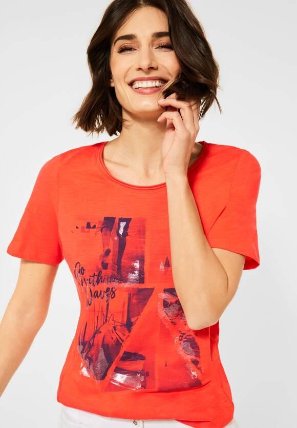 Cecil | T-Shirt mit Fotoprint | Farbe: papaya orange 32661, 316038