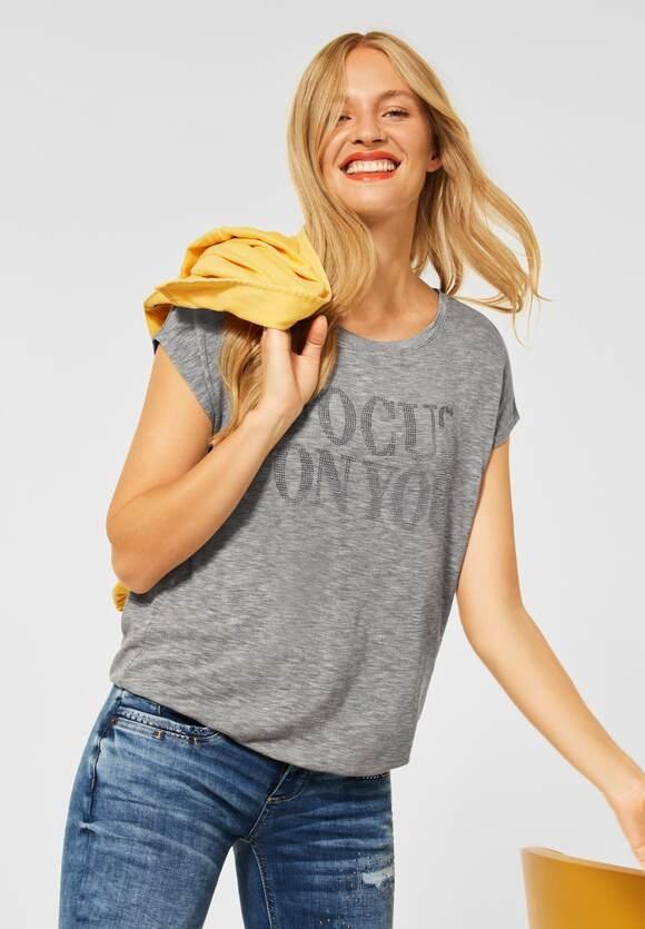 Street One   T-Shirt mit Deko Steinchen   Farbe: pebble grey mel 32970, 316790