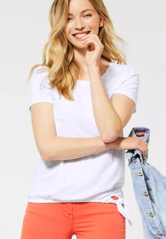 Cecil   T-Shirt mit Knotendetail   Farbe: white 10000, 315135