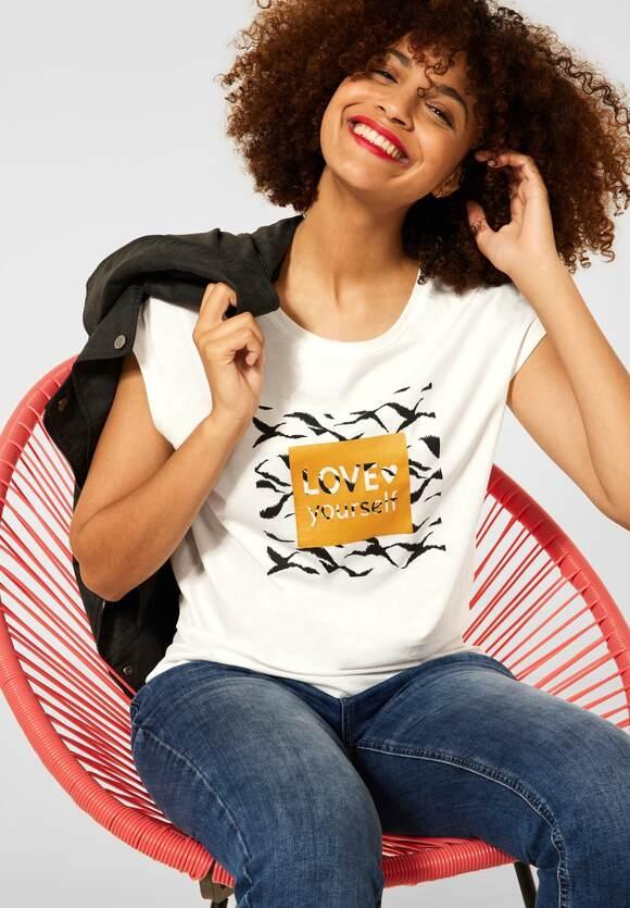 Street One | T-Shirt mit Wording | Farbe: off white 30108, 316792