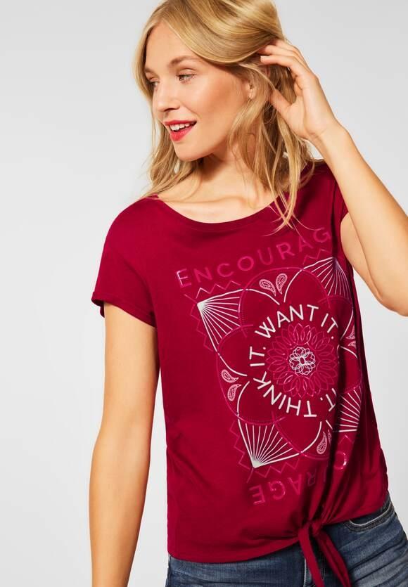 Street One | T-Shirt mit Partprint | Farbe: gentle red 33052, 316515