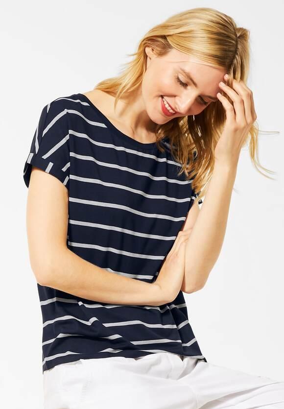 Street One | T-Shirt mit Streifenmuster | Farbe: deep blue 21238, 315425