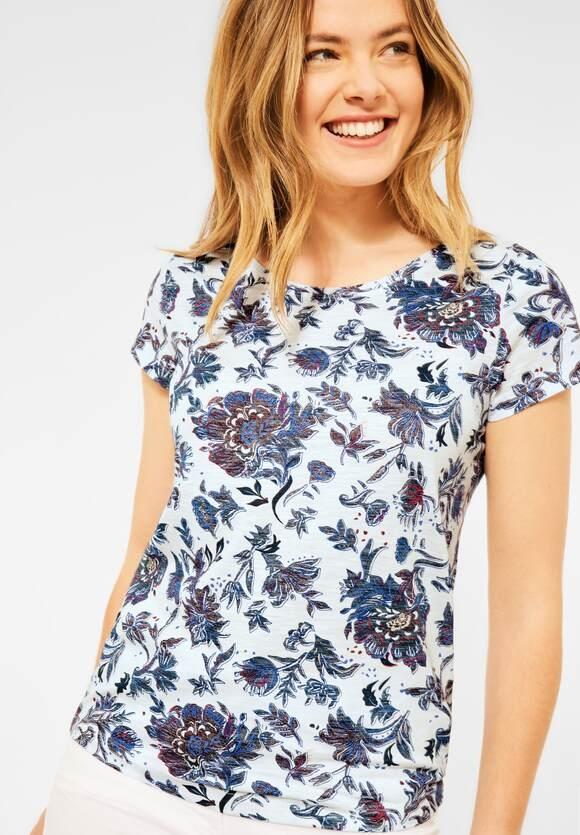 Cecil | T-Shirt mit Blumen Print | Farbe: pure off white 30125, 316640