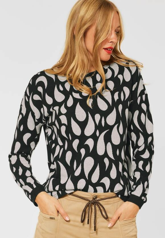 Street One | Softes Jacquard Shirt | Farbe: black 20001, 317077