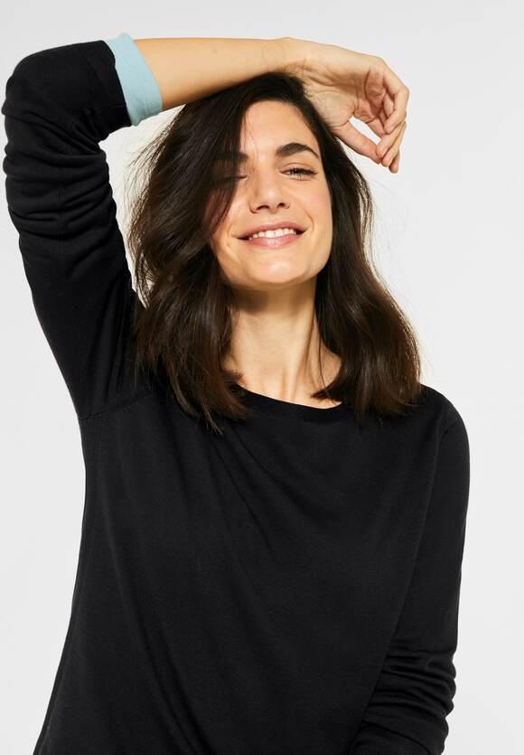 Cecil | Dünner Basic Pullover | Farbe: black 10001, 301262