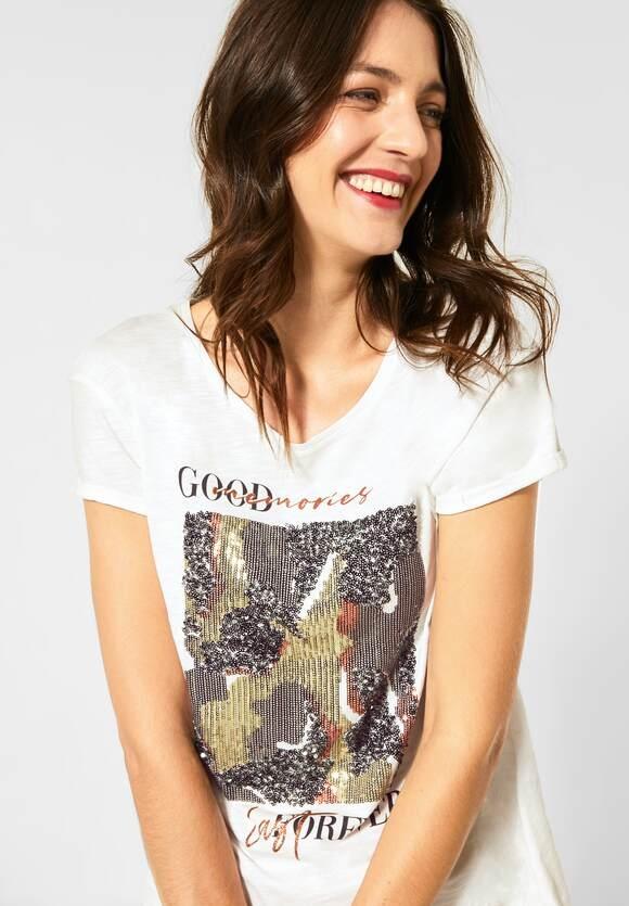 Street One | T-Shirt mit Pailletten | Farbe: off white 30108, 315213