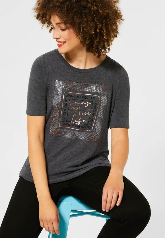 Street One | Cosy T-Shirt mit Frontprint | Farbe: coaly anthracite 32466, 315520