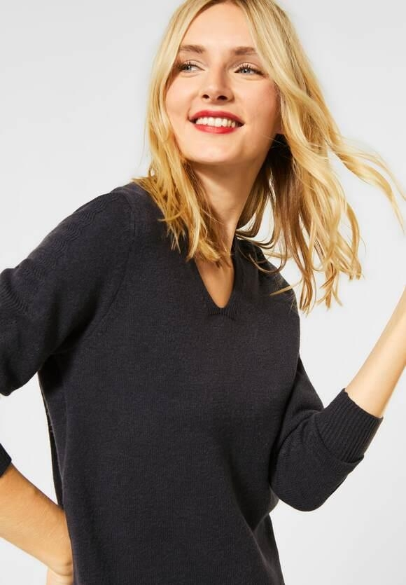 Street One | Cosy V-Neck Pulli | Farbe: coaly anthracite mel 12466, 301370