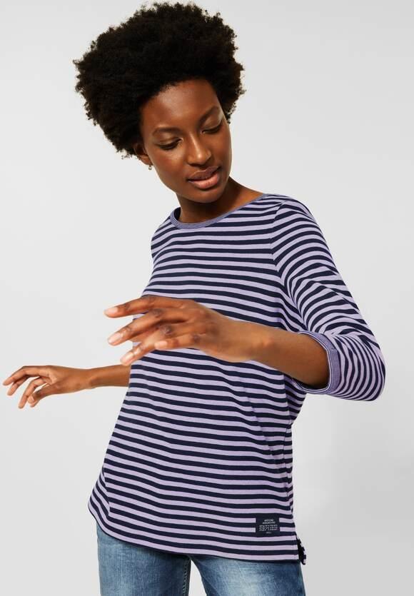 CECIL | Doubleface Streifen Shirt | Farbe: deep violet melange 23425, 317057