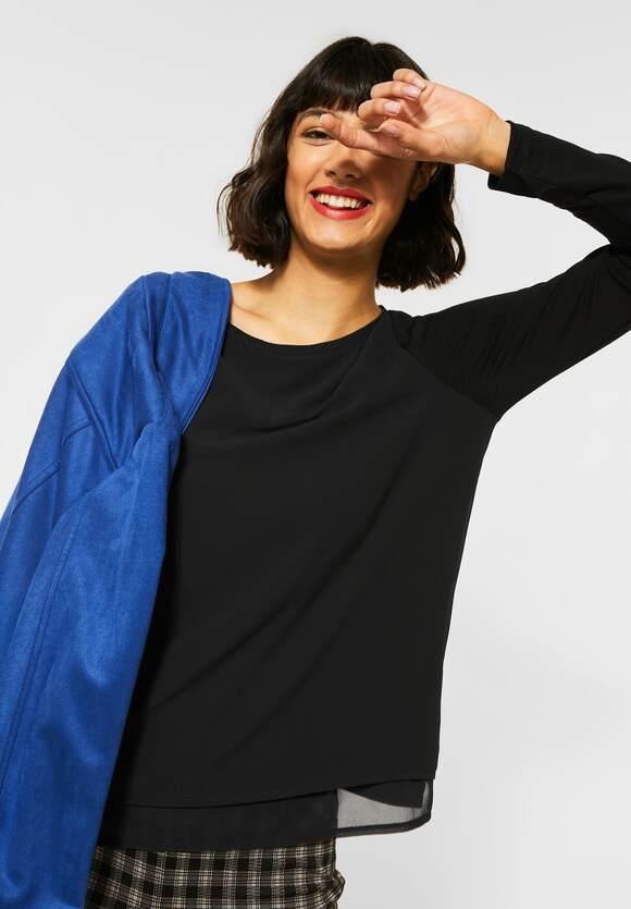 Street One | Shirt mit Chiffon | Farbe: black 10001, 315631