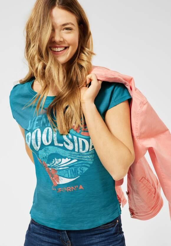 Cecil | T-Shirt mit Partprint | Farbe: cool lagoon blue 31813, 316347