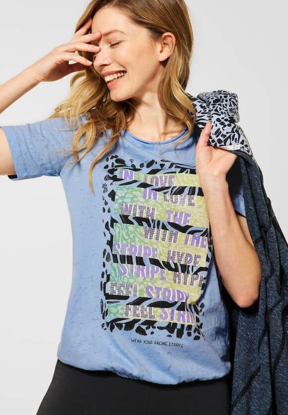 Cecil | T-Shirt mit Burn-Out Effekt | Farbe: quiet blue 32824, 315914