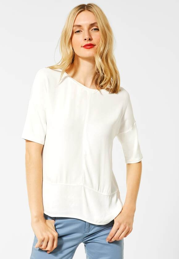 Street One | Shirt mit Materialmix | Farbe: off white 10108, 315263