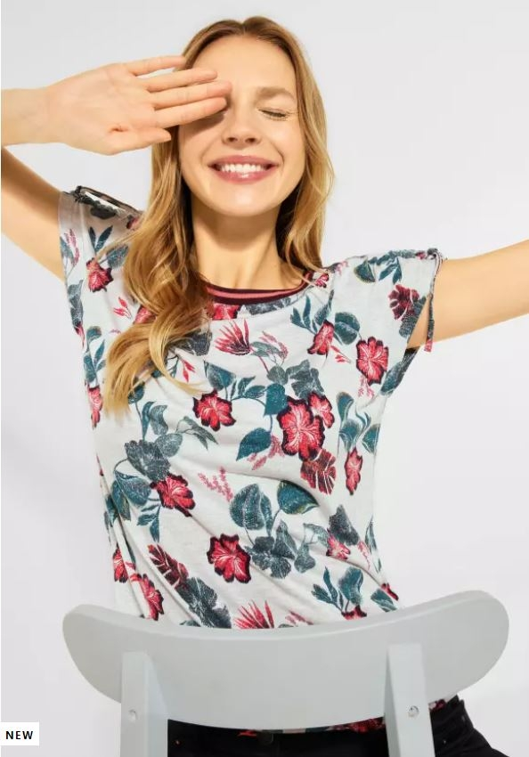 Cecil | T-Shirt mit Print | Farbe: off white melange 31111, 316473