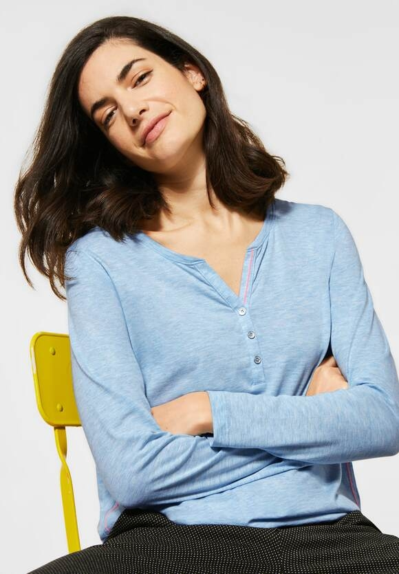 Cecil | Meliertes Shirt | Farbe: light bright blue mel 12791, 315609