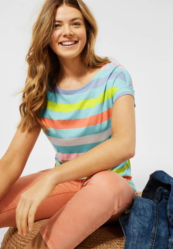 Cecil | T-Shirt mit Streifen Muster | Farbe: water ballet blue 33065, 316422
