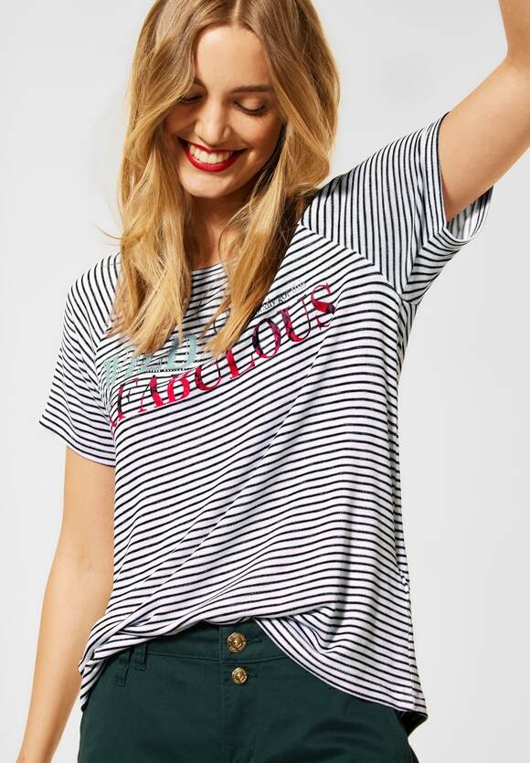 Street One | T-Shirt mit Streifen Muster | Farbe: white 30000, 316419