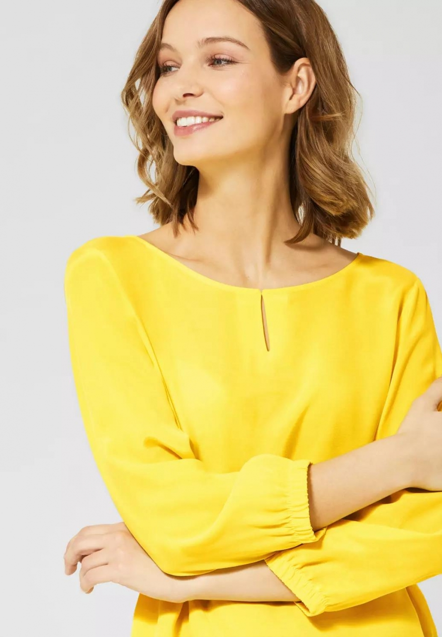 Street One | Bluse mit Materialmix | Farbe: shiny yellow 12201, 341910