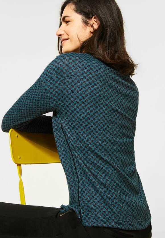 Cecil | Cosy Shirt mit Minimal-Print | Farbe: atlantic green 22523 ,315670