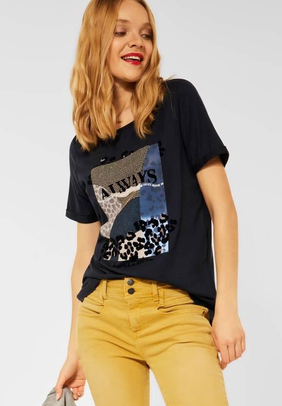 Street One | Shirt mit Partprint | Farbe: dark vintage blue 33325, 316911