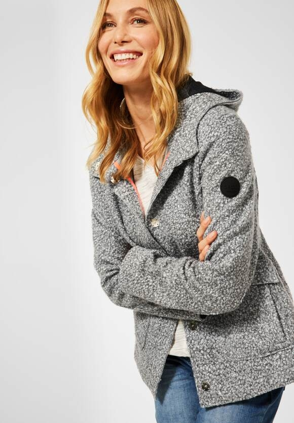 CECIL | Outdoor Jacke in Fake Wolle | Farbe: light graphite mel 10601, 201573