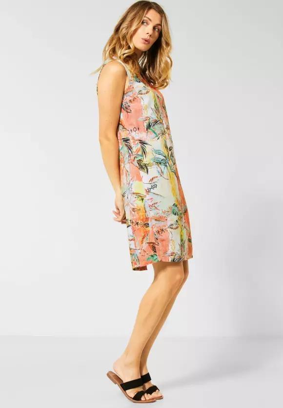 Cecil | Ärmelloses Kleid mit Muster | Farbe: cantaloupe orange 32355, 142669
