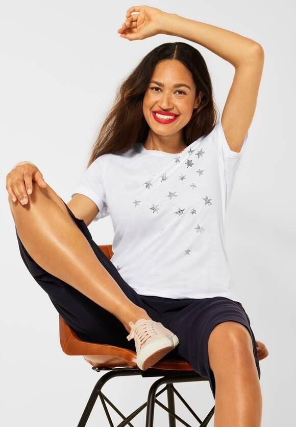 Street One   T-Shirt mit Schimmer Print   Farbe: white 30000, 316662