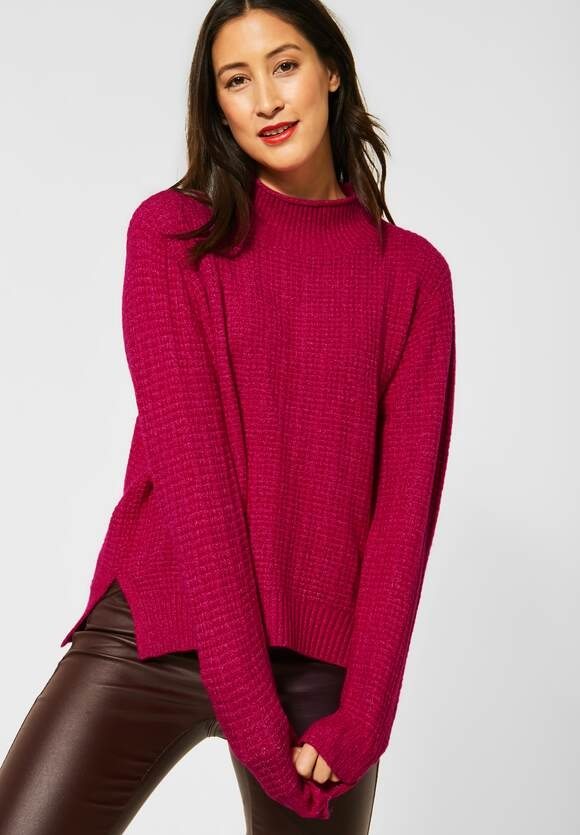 Street One | Cosy Struktur-Pullover | Farbe: raspberry pink mel 12686, 301414