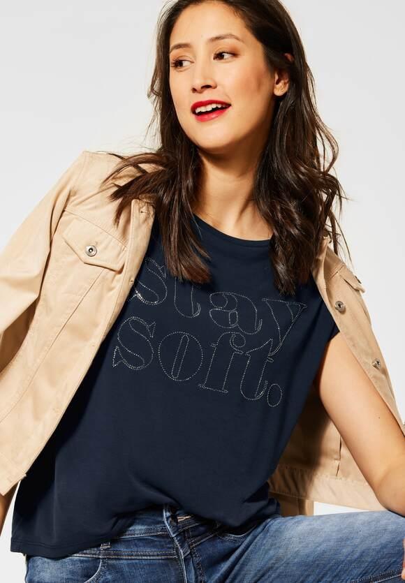 Street One | T-Shirt mit Deko-Steinchen | Farbe: mellow deep blue 23041, 316259