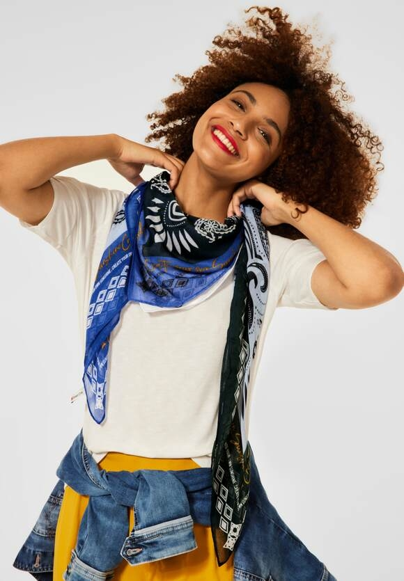 Street One | Schal mit Paisley Print | Farbe: clear blue 33219, 571635