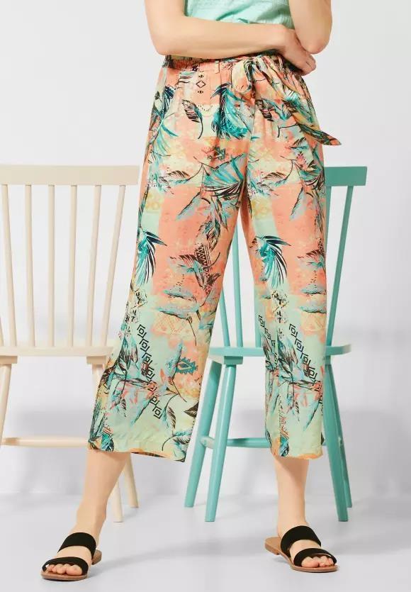 Cecil | Wide Leg Hose mit Muster | Farbe: cantaloupe orange 32355, 373206