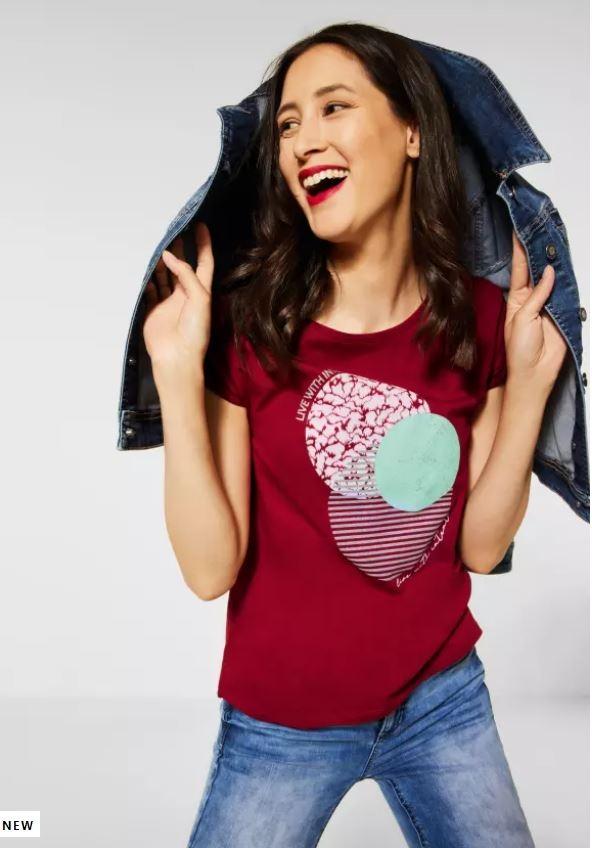 Street One   T-Shirt mit Partprint   Farbe: gentle red 33052, 316513
