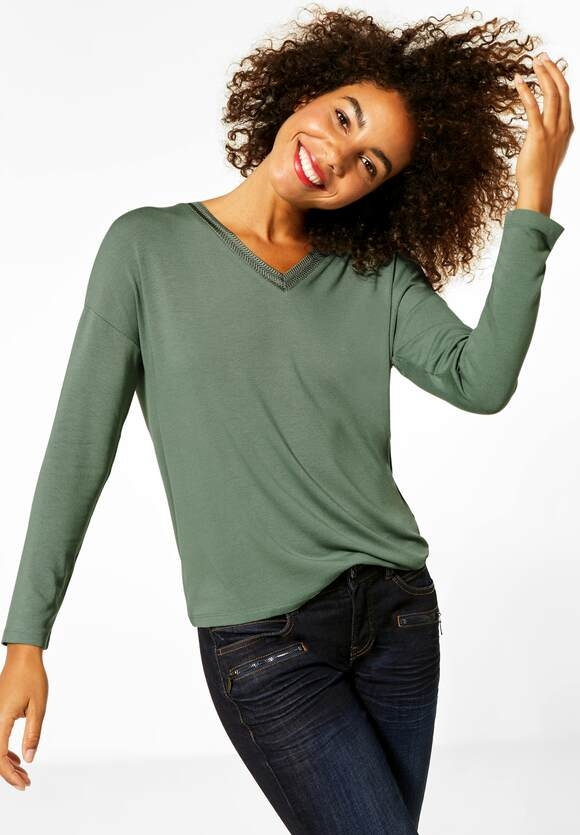 Street One | Shirt mit Strick am V-Neck | Farbe: rich celadon 12505, 315388