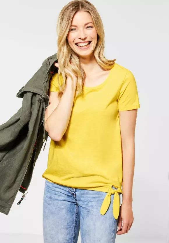 Cecil | T-Shirt mit Knotendetail | Farbe: radiant yellow 12360, 315135
