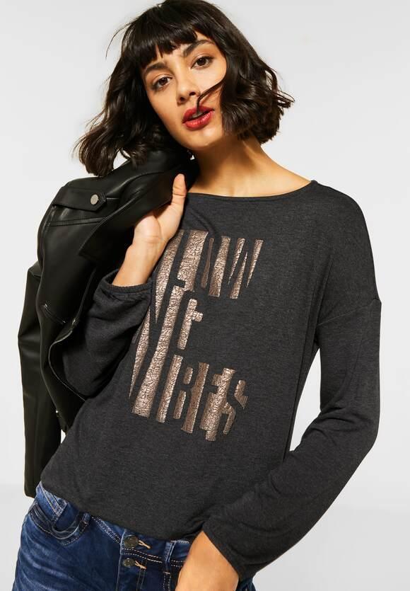 Street One | Shirt mit Schimmer-Schrift | Farbe: coaly anthracite mel 22466, 315649