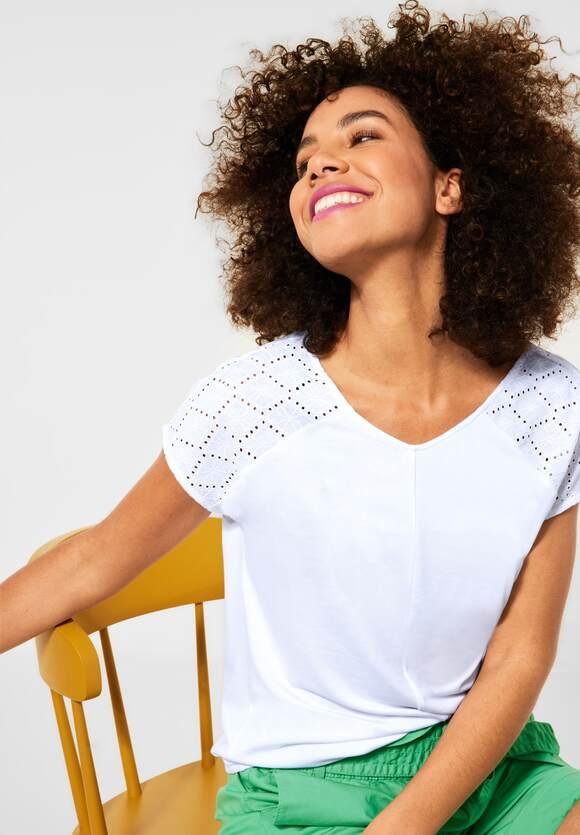 "Street One   T-Shirt ""Ramona"" mit Schulterdetail   Farbe: white 10000, 316311"