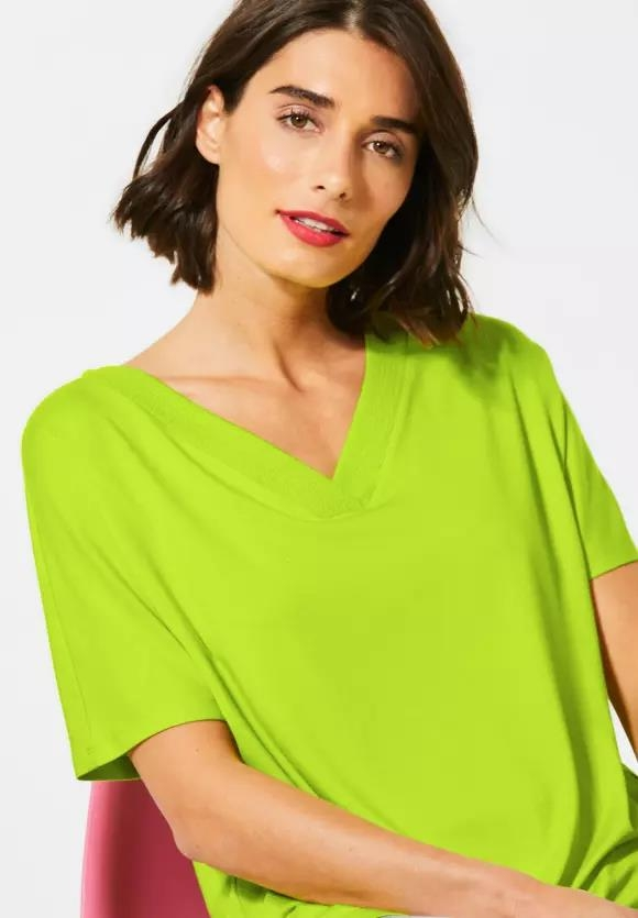 Street One | Lässiges T-Shirt in Unifarbe | Farbe: laser lime 12368, 315080