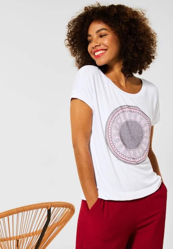 Street One   T-Shirt mit Steinchen Deko   Farbe: white 30000, 316520