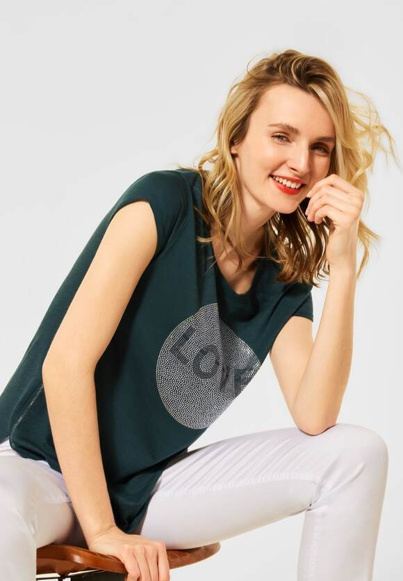 Street One | T-Shirt mit Steinchen-Deko | Farbe: spruce green 33102, 316416