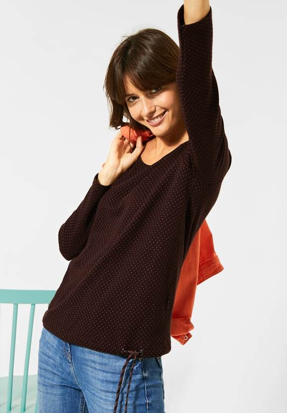 Cecil | Langarmshirt mit Doubleface | Farbe: red mahogany 22540, 315381