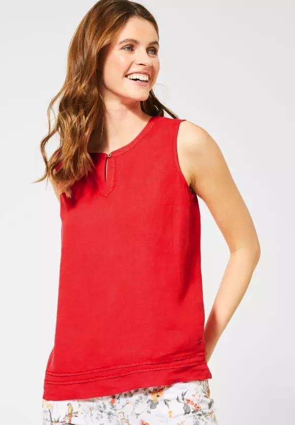 Cecil | Top aus Leinen | Farbe: sizzling coral red 12225, 341887