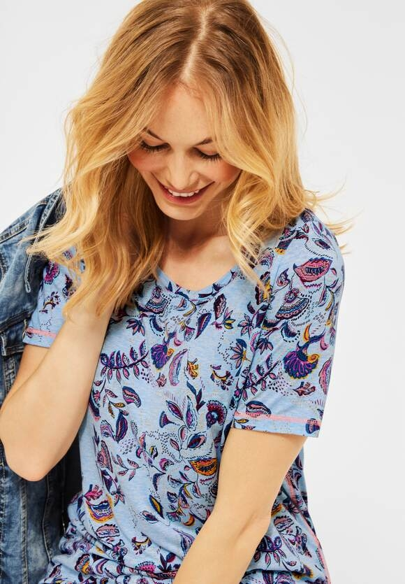 Cecil   T-Shirt mit Paisley Print   Farbe: clear water blue mel 30424, 316181