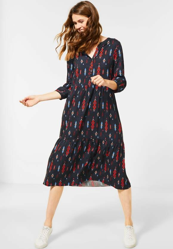 Cecil | Midi-Kleid mit Ikat-Print | Farbe: carbon grey 32538, 142757