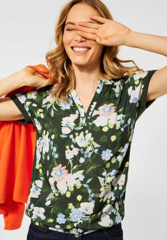 Cecil | T-Shirt mit Blumen Print | Farbe: utility olive 33036, 316213