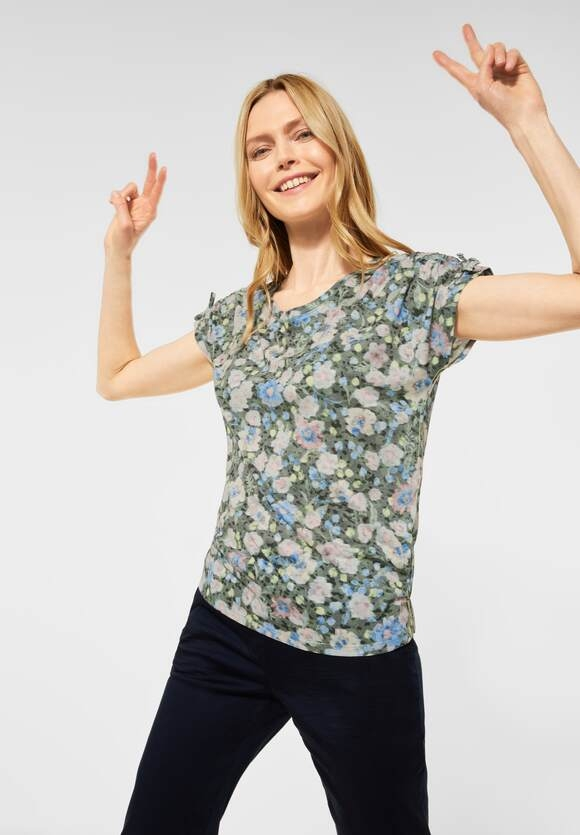 Cecil | T-Shirt mit Raffungen | Farbe: utility olive 33036, 316223